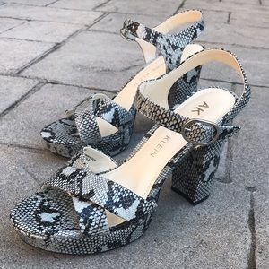 Blue Anne Klein Lakoda Snakeskin Heeled Sandals